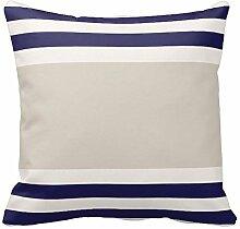 NAVY blau mit grau Streifen Muster, Baumwollleinen, quadratisch Decor Kissen, Color1, 18x18 inch