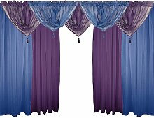 NAVY BLUE &PURPLE 182.88 CM VOILE-SET 9-TLG. 183 CM KRÄUSELBAND GARDINE DRAPES &GIRLANDEN