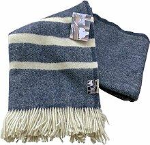 Navyblau-creme schraffierte Wolldecke mit cremefarbenen Streifen aus 100% skandinavischer Schurwolle, ca 200x130cm mit Fransen, 860g
