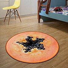 NBE Teppich 3D-Obst runden Teppich Durchmesser