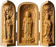 NBHUZEHUA Buddha-Statue aus Holz, klein, tragbar