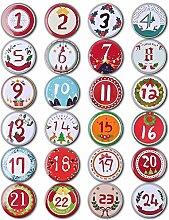 Nbrand Adventskalender Zahlen Buttons, 24 DIY