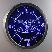 nc0244-b OPEN Hot Pizza cafe Restaurant Neon Sign LED Wall Clock Uhr Leuchtuhr/ Leuchtende Wanduhr