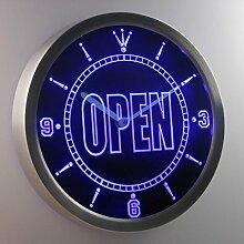 nc0270-b OPEN Shop Display Cafe Business Neon Sign LED Wall Clock Uhr Leuchtuhr/ Leuchtende Wanduhr