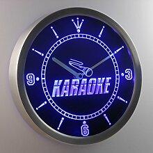 nc0272-b Karaoke Room Display Neon Sign LED Wall Clock Uhr Leuchtuhr/ Leuchtende Wanduhr