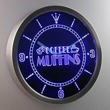 nc0274-b OPEN Coffee Shop Muffins Neon Sign LED Wall Clock Uhr Leuchtuhr/ Leuchtende Wanduhr