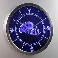 nc0289-b Now Open Shop Display Neon Sign LED Wall Clock Uhr Leuchtuhr/ Leuchtende Wanduhr