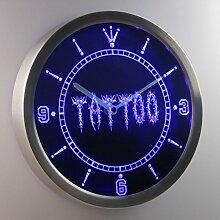 nc0292-b Tattoo Shop Neon Sign LED Wall Clock Uhr Leuchtuhr/ Leuchtende Wanduhr