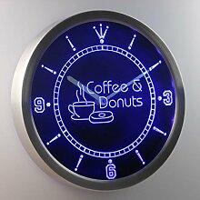 nc0300-b OPEN Coffee & Donuts Cafe Bar Neon Sign LED Wall Clock Uhr Leuchtuhr/ Leuchtende Wanduhr