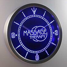 nc0302-b Massage Therapy Display Gift Shop Neon Sign LED Wall Clock Uhr Leuchtuhr/ Leuchtende Wanduhr