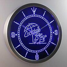 nc0309-b Cocktails Parrot Bar Pub Club Neon Sign LED Wall Clock Uhr Leuchtuhr/ Leuchtende Wanduhr