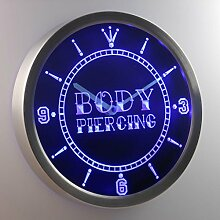 nc0311-b Body Piercing Tattoo Shop Neon Sign LED Wall Clock Uhr Leuchtuhr/ Leuchtende Wanduhr