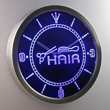 nc0320-b Hair Cut Scissor Comb Shop Neon Sign LED Wall Clock Uhr Leuchtuhr/ Leuchtende Wanduhr
