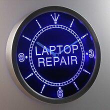 nc0324-b Laptop Computer Repair Display Neon Sign LED Wall Clock Uhr Leuchtuhr/ Leuchtende Wanduhr