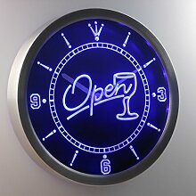 nc0334-b OPEN Cocktails Bar Beer Neon Sign LED Wall Clock Uhr Leuchtuhr/ Leuchtende Wanduhr