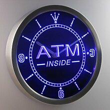 nc0342-b ATM Inside Display Gift Neon Sign LED Wall Clock Uhr Leuchtuhr/ Leuchtende Wanduhr