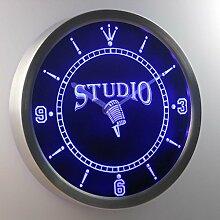 nc0349-b Studio On the Air Microphone Neon Sign LED Wall Clock Uhr Leuchtuhr/ Leuchtende Wanduhr