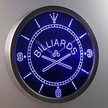 nc0351-b Billiards Room Bar Beer Neon Sign LED Wall Clock Uhr Leuchtuhr/ Leuchtende Wanduhr
