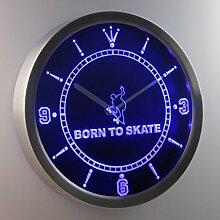 nc0402-b Born to Skate Home Decor Neon Sign LED Wall Clock Uhr Leuchtuhr/ Leuchtende Wanduhr