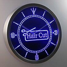 nc0416-b Hair Cut Scissor Barber OPEN Neon Sign LED Wall Clock Uhr Leuchtuhr/ Leuchtende Wanduhr