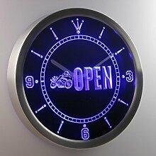nc0421-b Motorcycle Biker OPEN Auto Shop Neon Sign LED Wall Clock Uhr Leuchtuhr/ Leuchtende Wanduhr