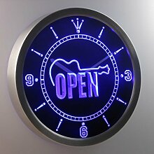 nc0423-b Guitar OPEN Band Room Gift Neon Sign LED Wall Clock Uhr Leuchtuhr/ Leuchtende Wanduhr