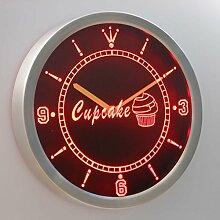 nc0441-r Cupcake Cafe Coffee Shop Display Neon Sign LED Wall Clock Uhr Leuchtuhr/ Leuchtende Wanduhr