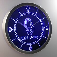 nc0446-b On The Air Headphone Bar Neon Sign LED Wall Clock Uhr Leuchtuhr/ Leuchtende Wanduhr