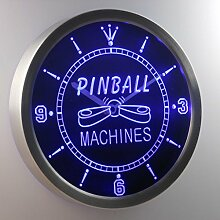 nc0448-b Pinball Machine Game Room LED Neon Clock Uhr Leuchtuhr/ Leuchtende Wanduhr