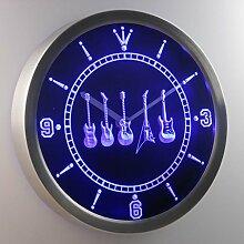 nc0450-b Guitar Weapons Hero Bar Beer Neon Sign LED Wall Clock Uhr Leuchtuhr/ Leuchtende Wanduhr