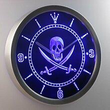 nc0452-b Pirates Skull Head Bar Pub Beer Neon Sign LED Wall Clock Uhr Leuchtuhr/ Leuchtende Wanduhr