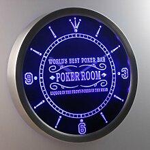 nc0454-b Best Poker Room Liquor in Front Bar Beer Neon Sign LED Wall Clock Uhr Leuchtuhr/ Leuchtende Wanduhr