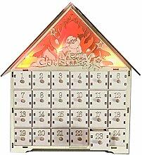 Ncbvixsw Adventskalender aus Holz, mit LED-Licht,