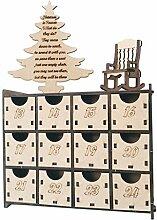 Ncbvixsw Adventskalenderbox aus Holz mit 24