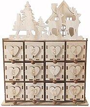 Ncbvixsw Weihnachts-Adventskalender aus Holz mit