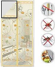Nclon Fliegenvorhang moskitonetz magnetvorhang Klebemontage,Magnet fliegengitter Tür Zum insektenschutz Automatisches Schließen -Beige 100x215cm(39x85inch)