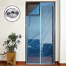 Nclon Magnet fliegengitter Tür Klebemontage Full-Frame,Fliegenvorhang moskitonetz magnetvorhang Automatisches Schließen Zum insektenschutz-Blau 80x210cm(31x83inch)