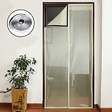 Nclon Magnet fliegengitter Tür Klebemontage Full-Frame,Fliegenvorhang moskitonetz magnetvorhang Automatisches Schließen Zum insektenschutz-Beige 80x210cm(31x83inch)