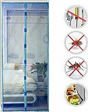 Nclon Magnet fliegengitter Tür Klebemontage,Zum insektenschutz Fliegenvorhang moskitonetz magnetvorhang Automatisches Schließen Punch-Frei-Blau 110x220cm(43x87inch)