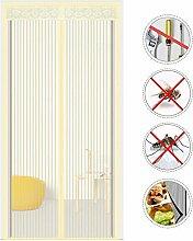 Nclon Magnet fliegengitter Tür Zum insektenschutz,Fliegenvorhang moskitonetz magnetvorhang Klebemontage Automatisches Schließen -Beige 140x220cm(55x87inch)