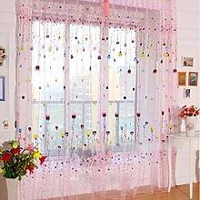 Nclon Romantisch Voile Vorhänge gardinen,Blumen