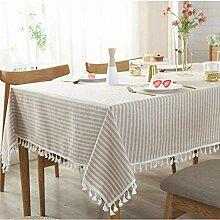 Nclon Stripe Quaste Tischdecke, Baumwolle Leinen