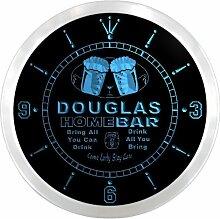 ncp0045-b DOUGLAS Home Bar Beer Pub LED Neon Sign Wall Clock Uhr Leuchtuhr/ Leuchtende Wanduhr
