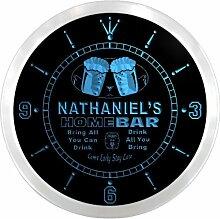 ncp0207-b NATHANIEL'S Home Bar Beer Pub LED Neon Sign Wall Clock Uhr Leuchtuhr/ Leuchtende Wanduhr