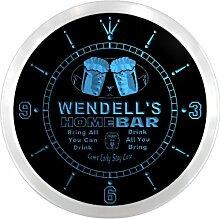 ncp0314-b WENDELL'S Home Bar Beer Pub LED Neon Sign Wall Clock Uhr Leuchtuhr/ Leuchtende Wanduhr