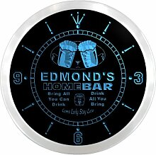 ncp0488-b EDMOND'S Home Bar Beer Pub LED Neon Sign Wall Clock Uhr Leuchtuhr/ Leuchtende Wanduhr