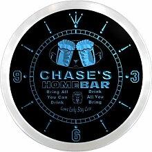 ncp0532-b CHASE'S Home Bar Beer Pub LED Neon Sign Wall Clock Uhr Leuchtuhr/ Leuchtende Wanduhr