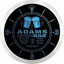 ncp1036-b ADAMS Home Bar Beer Pub LED Neon Sign Wall Clock Uhr Leuchtuhr/ Leuchtende Wanduhr