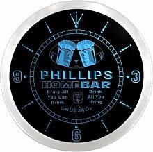 ncp1045-b PHILLIPS Home Bar Beer Pub LED Neon Sign Wall Clock Uhr Leuchtuhr/ Leuchtende Wanduhr