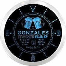 ncp1094-b GONZALES Home Bar Beer Pub LED Neon Sign Wall Clock Uhr Leuchtuhr/ Leuchtende Wanduhr